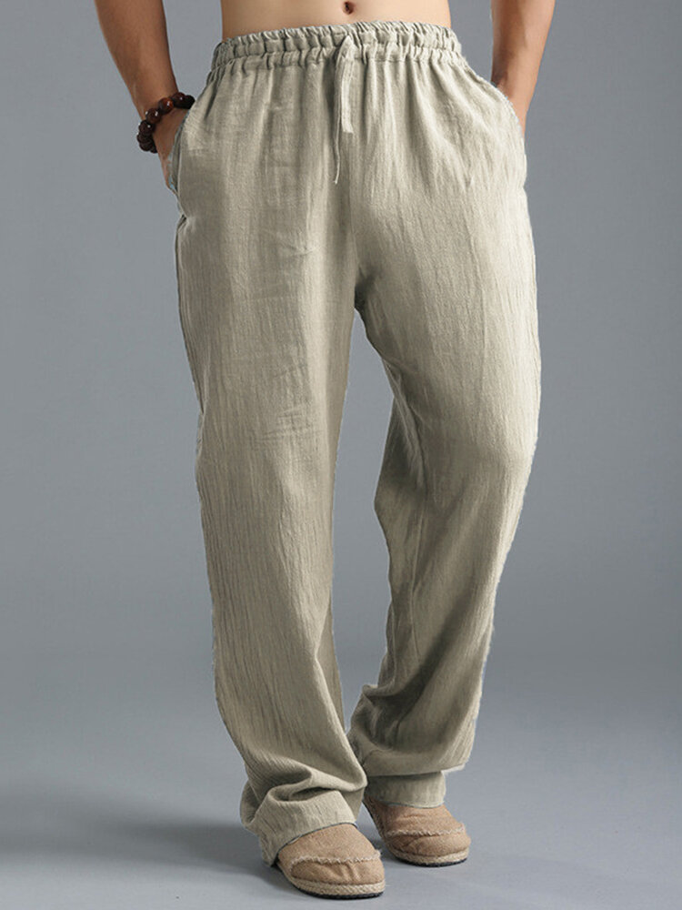 Solid Color Breathable Cotton Linen Bottoms Drawstring Cozy Daily Loose Lounge Pants for Men