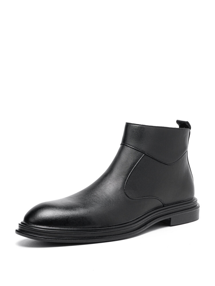 Men Artificial Leather Black Side Zipper Casual Business Boots