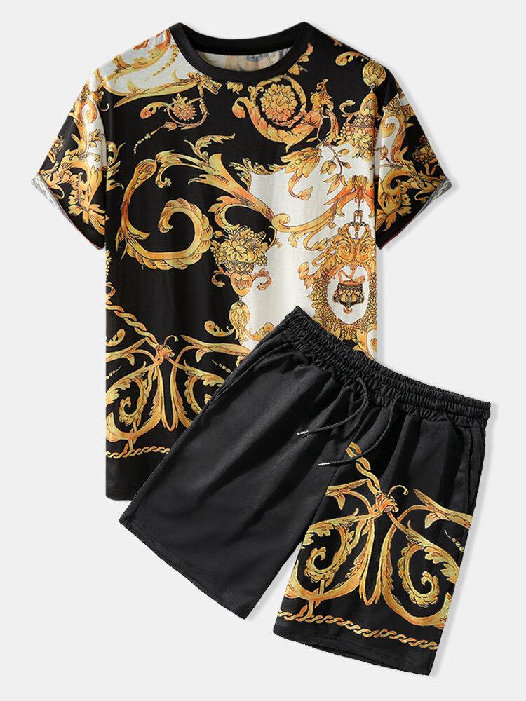 Mens Ethnic Baroque Pattern Short Sleeve Black Two Piece Outfits