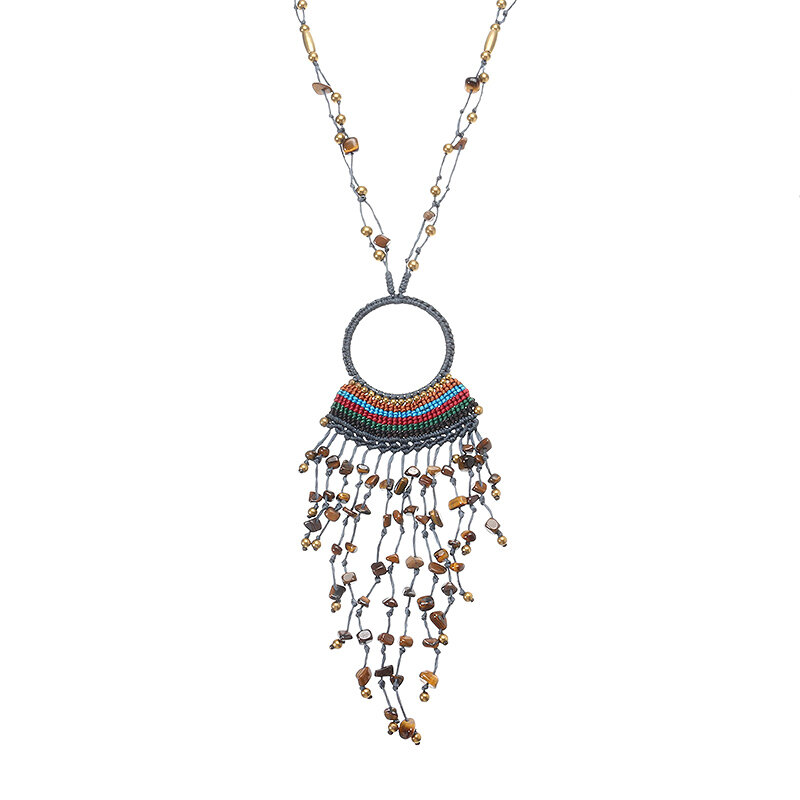 Women's Ethnic Necklace Retro Crystal Weave Tassel Necklace