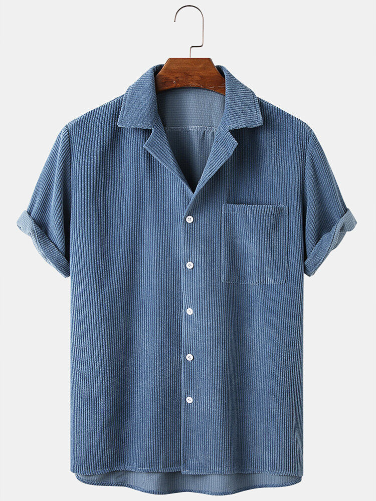 Mens Corduroy Solid Color Loose Casual Lapel Collar Short Sleeve Shirts
