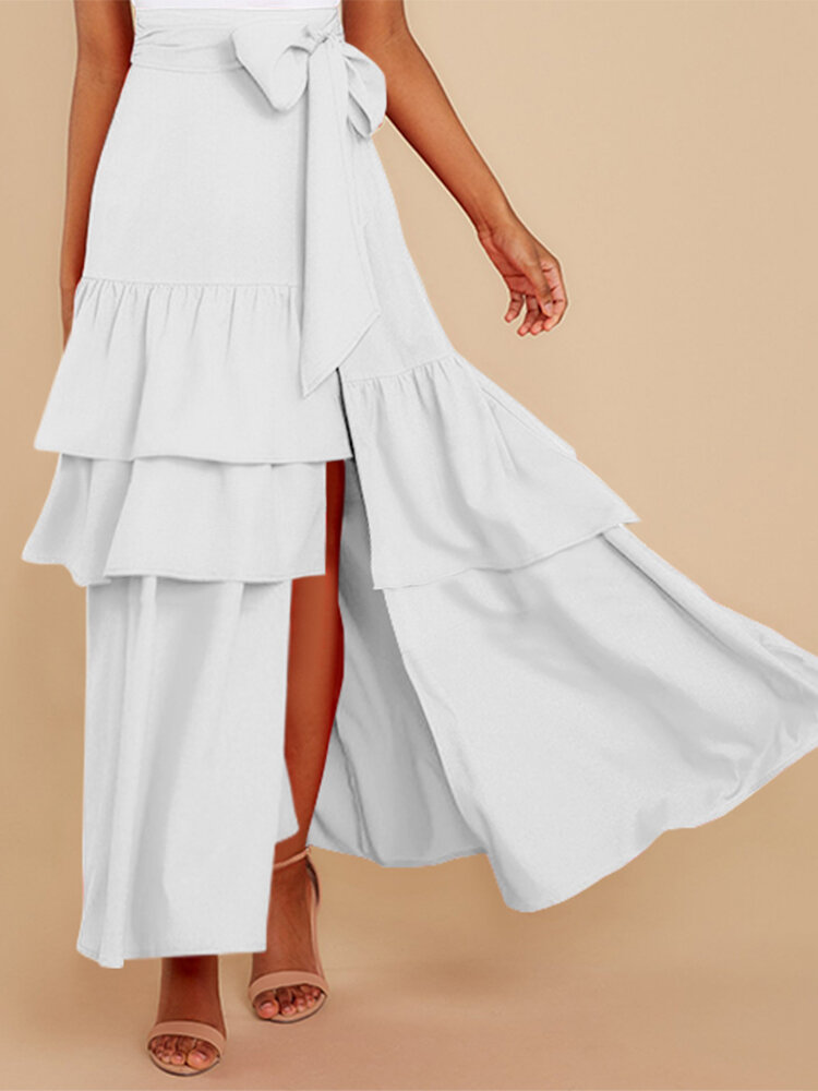 Solid Color Knotted Pleated Ruffle Long Casual Skirt for Women