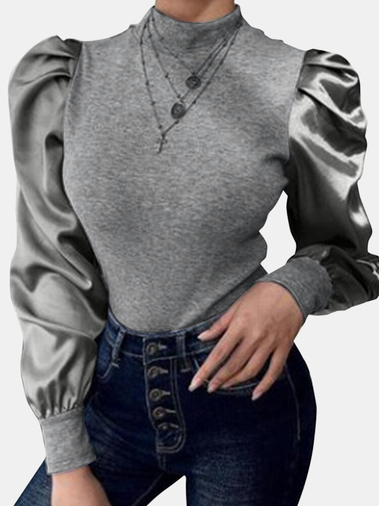 Solid Color Patched Turtleneck Long Puff Sleeve Blouse