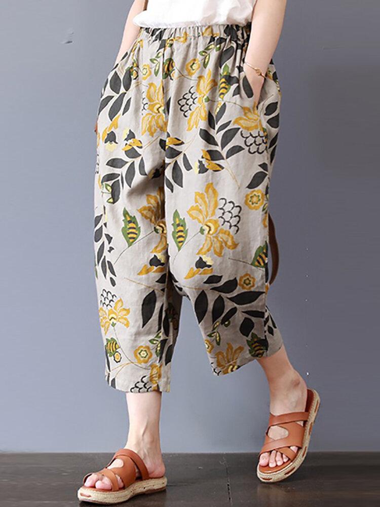 Vintage Floral Print Elastic Waist Plus Size Pants with Pockets