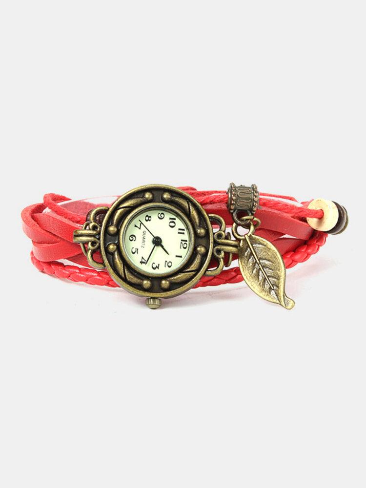 女性のための多層リーフチャーム編みレザーブレスレット時計