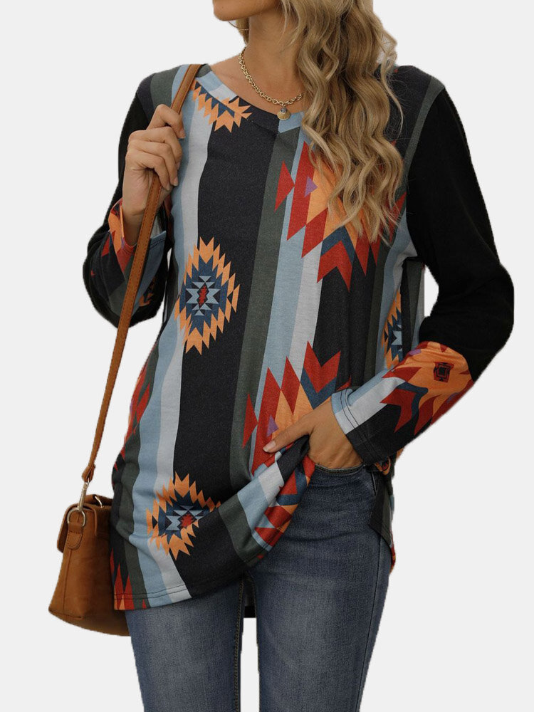 Striped Print Patchwork O-neck Long Sleeve Plus Size Blouse for Women
