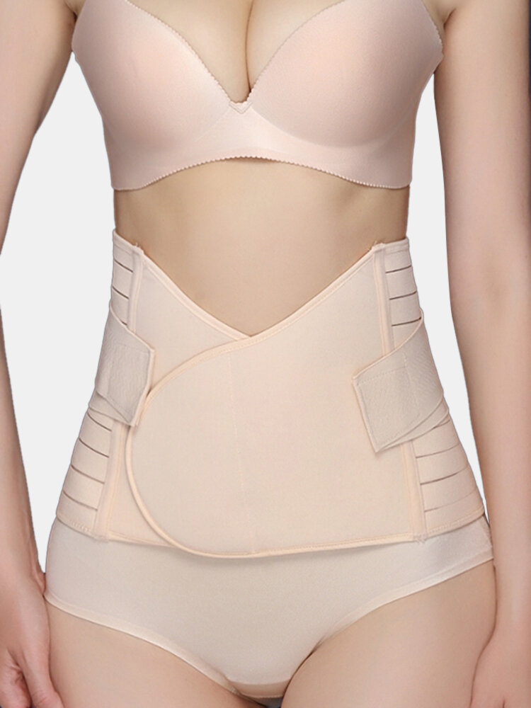 Women Abdomen Control Postpartum Recovery Breathable Shapewear With Sticky Strap