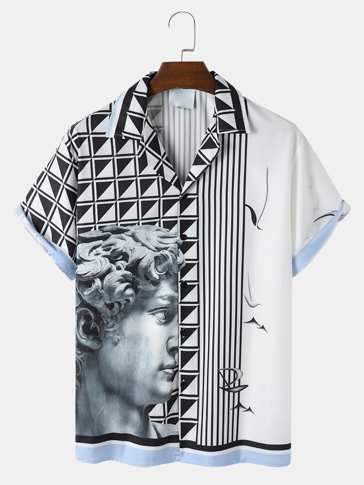 メンズヴィンテージスタチュージオプリントキャンプカラー半袖シャツ