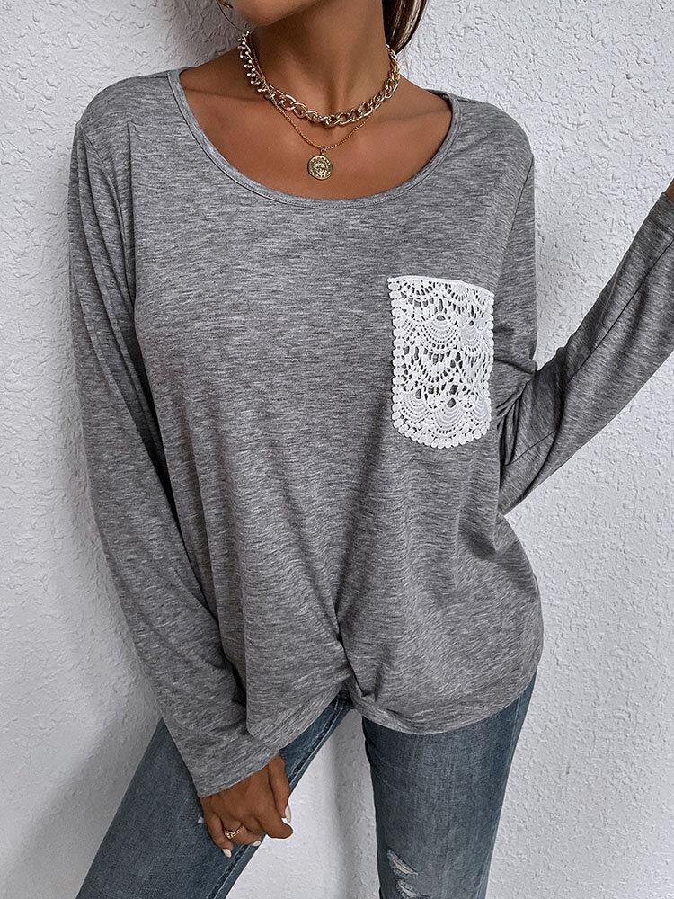 Stitch Lace Pocket Long Sleeve O-neck Solid Women T-shirt