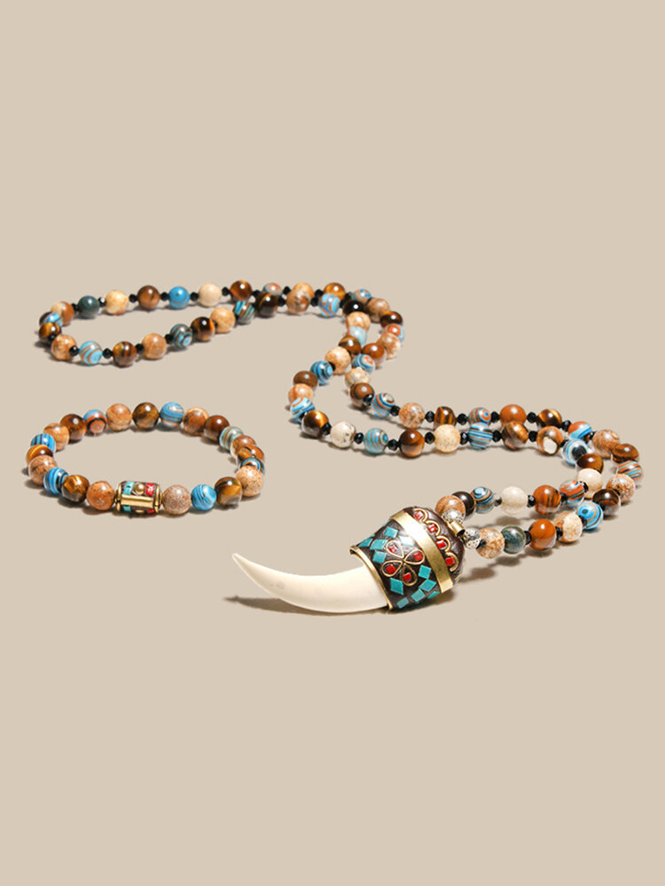 2Pcs Bohemian Natural Stone Crystal Beads Necklace Resin Tooth Pendant Necklace