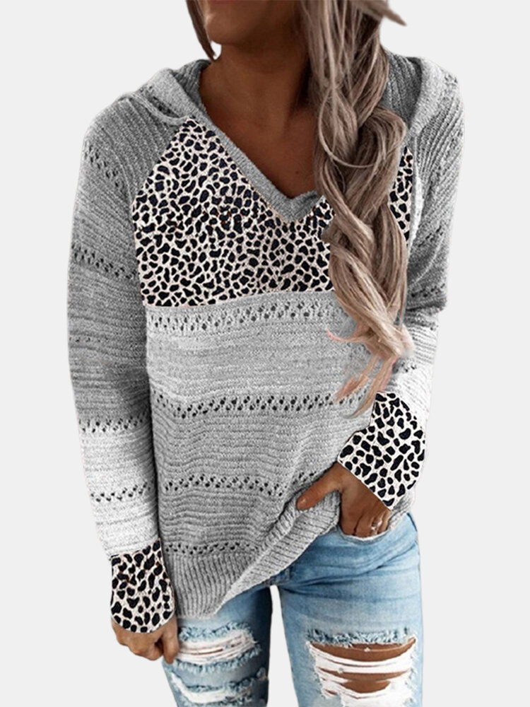 Leopard Print Patchwork Long Sleeve Knitted Plus Size Hoodie