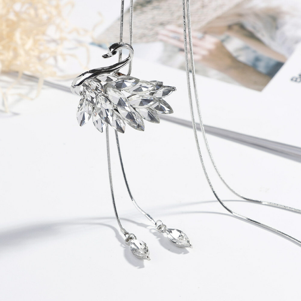 Fashion Swan Crystal Long Necklaces Silver Gold Tessels Drop Sweater Necklaces for Women