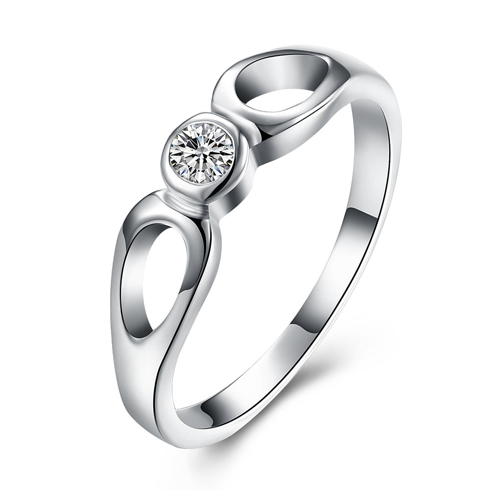 YUEYIN Simple Ring Two Circle Zircon Ring for Women Gift