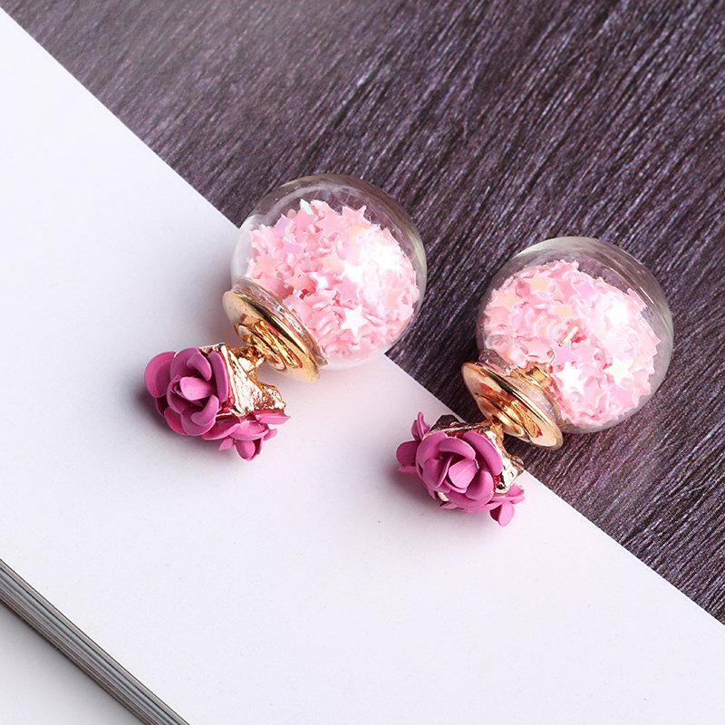 Sweet Elegant Earrings Glass Wishing Ball Star Rose Flower Earrings for Women Gift