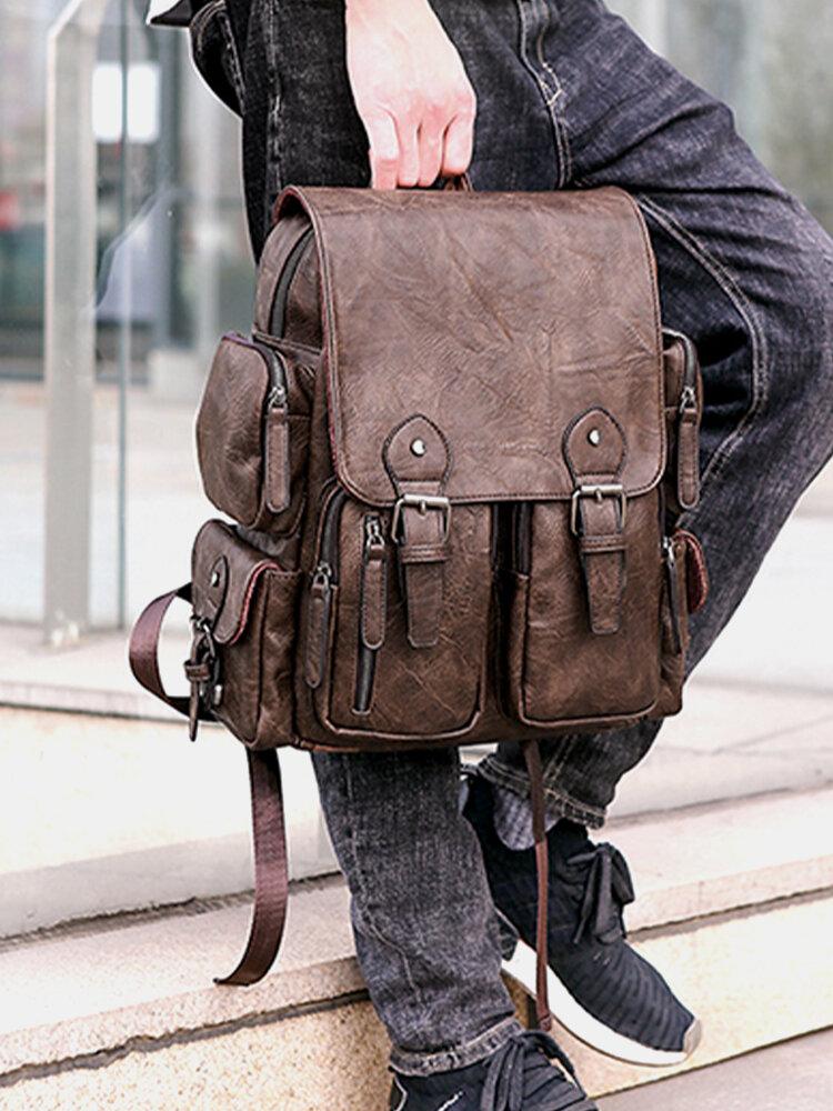 Men Retro PU Leather Backpack 14 Inch Laptop Bag Backpack