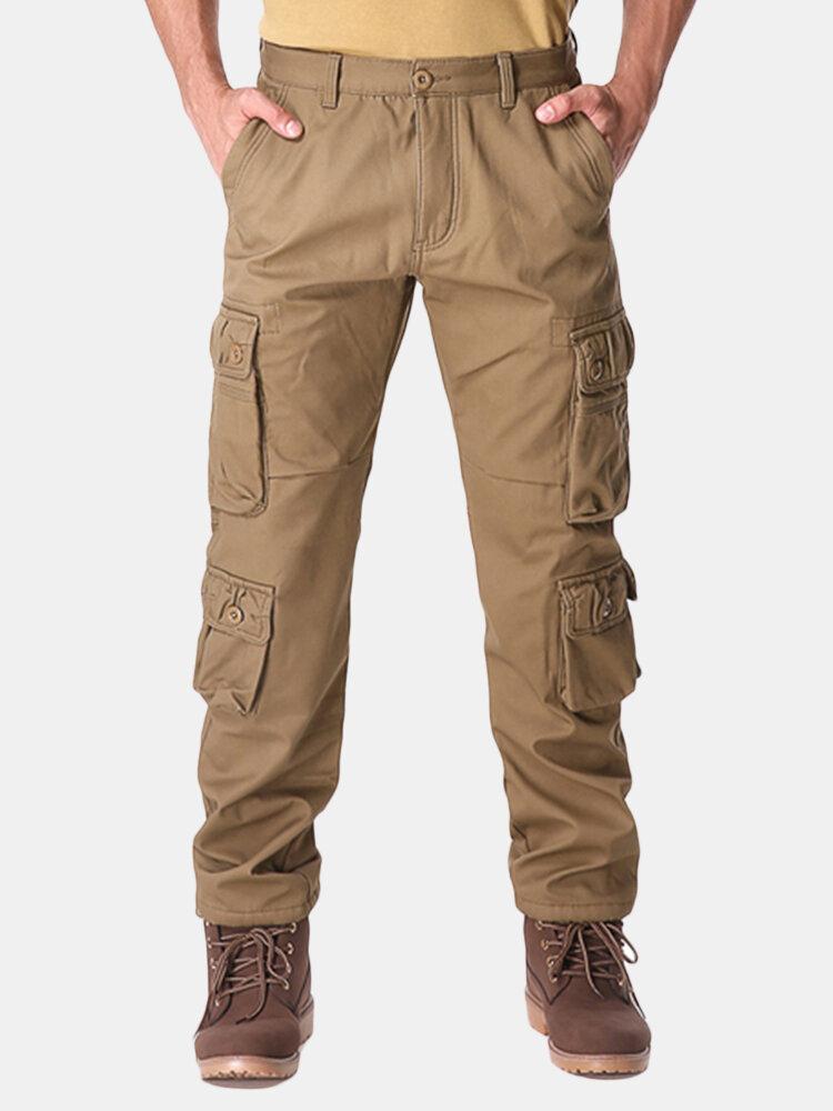 acquisto economico 21e9f 4a786 Charmkpr Pantalone da uomo invernale con rivestimento in pile polare,  multi-tasca dritta Carico Pantaloni