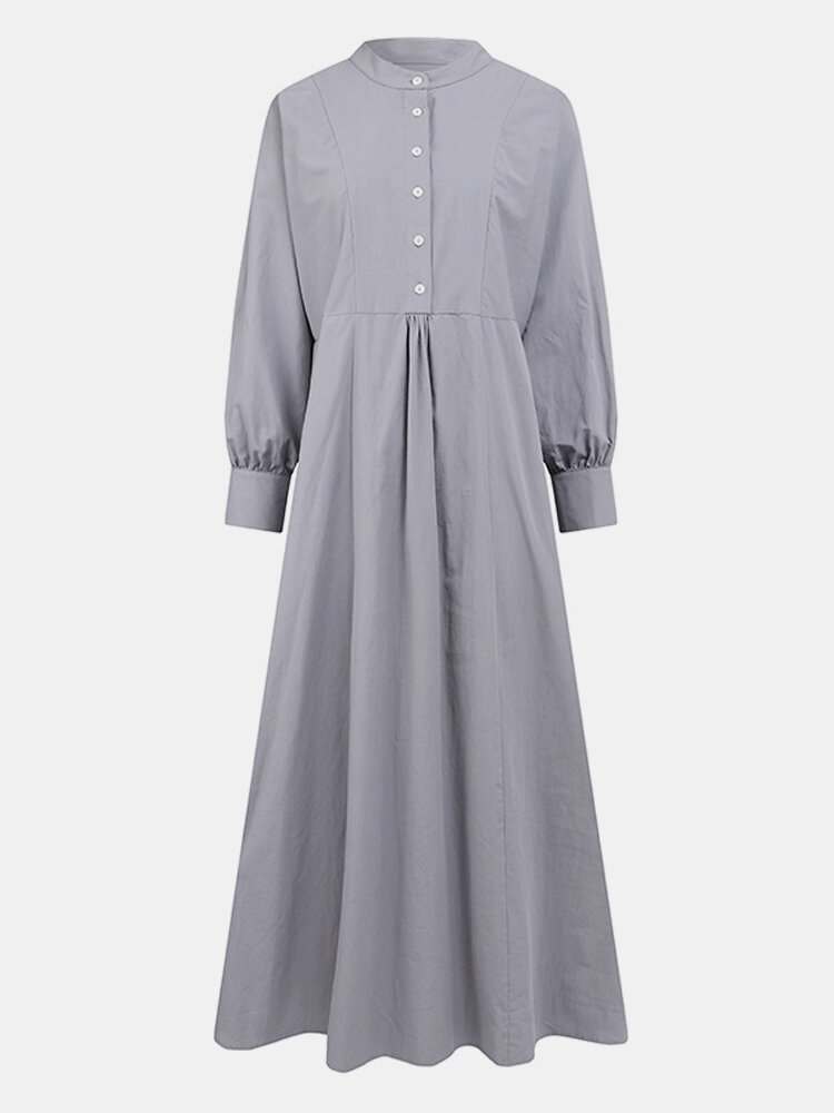 Solid Color Button Long Sleeve Stand Collar Maxi Dress