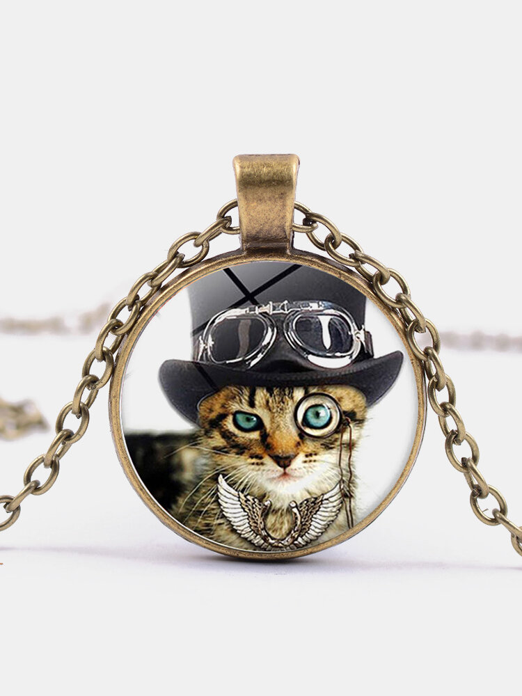 Vintage Glass Printed Women Necklace Cat Top Hat Monocle Pendant Necklace Jewelry Gift