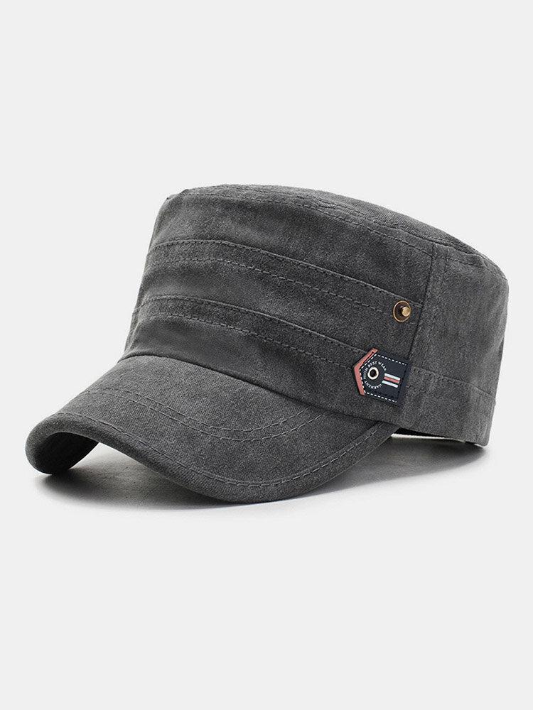 Men Cotton Letter Labeling Outdoor Sunshade Casual Military Cap Flat Cap