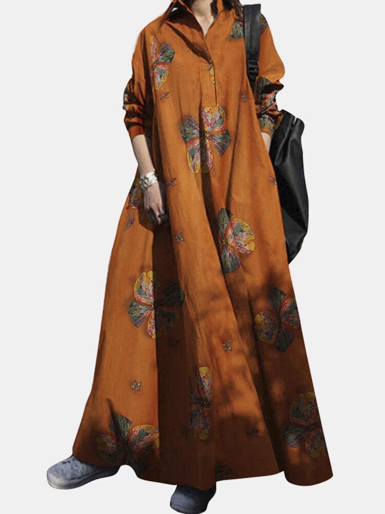 Vintage Blumendruck Big Swing Langarm Pure Cotton Kleid