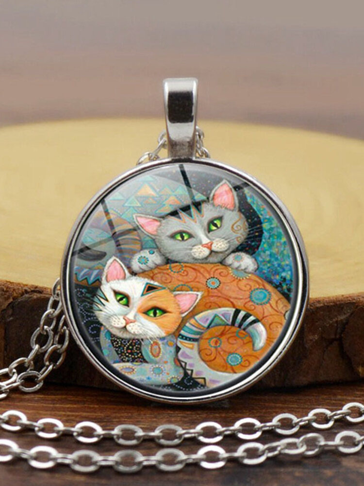 Vintage Glass Printed Women Necklace Cat Companion Pendant Necklace Jewelry Gift