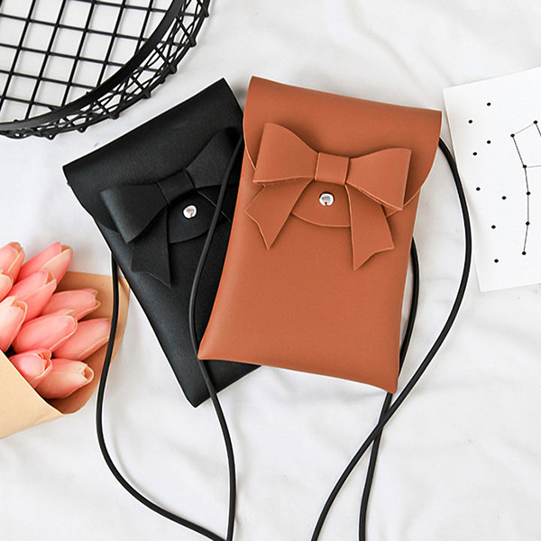 Bowknot Stylish 5.5inch PU Leather Phone Bag Crossbody Bag Shoulder Bags For Women
