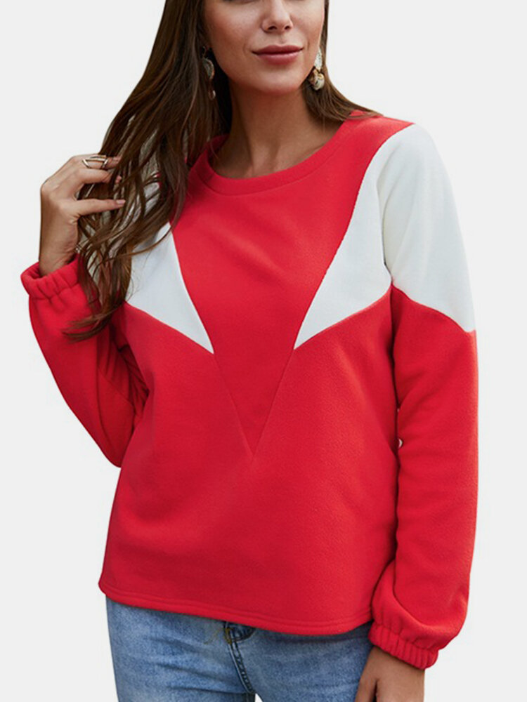 Contrast Color Long Sleeves Casual Sweatshirt for Women