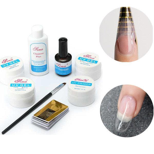 8Pcs UV Nail Gel Set Builder Primer Base UV Gel Top Coat Brush Cleanser Guide Sticker Form Manicure