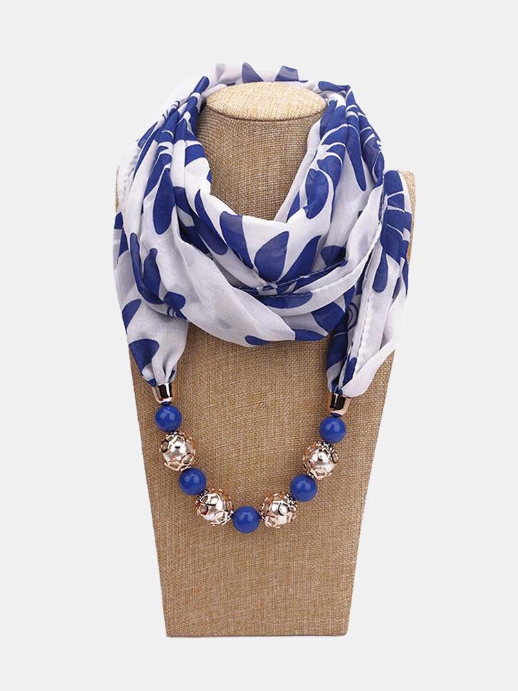 Vintage Chiffon Women Scarf Necklace Beaded Pendant Lattice Flowers Pattern Silk Scarf