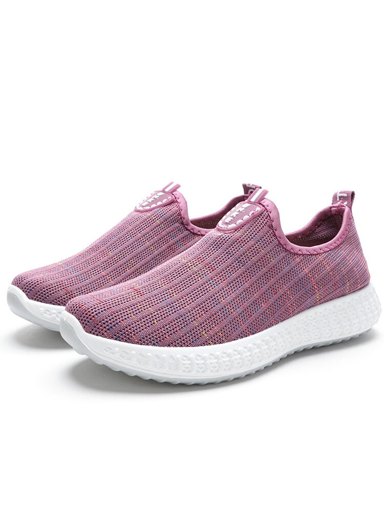 Women Beathable Mesh Slip On Running Casual Flat Shoes