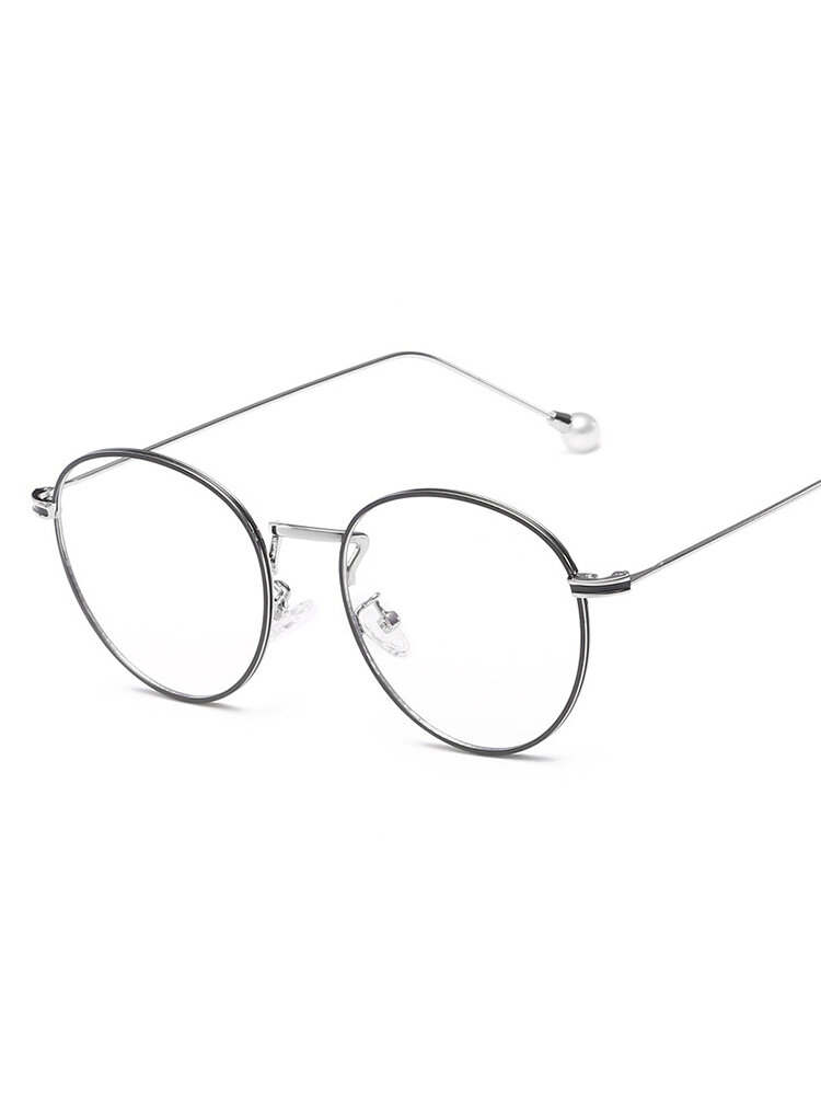 Lady Metal Big Frame Elastic Leg Simulation Pearl Accessory Comfortable Fashion Clear Lens Glasses