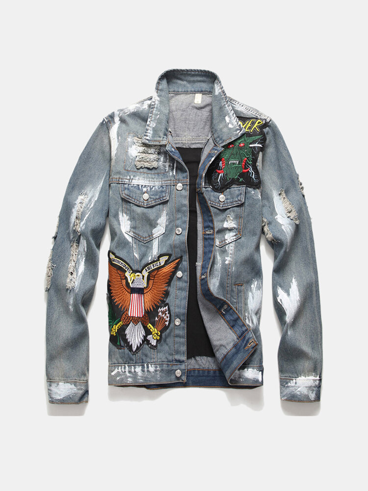 Retro Single Breasted Patched Ripped Multi-Badge Denim Jacket for Men