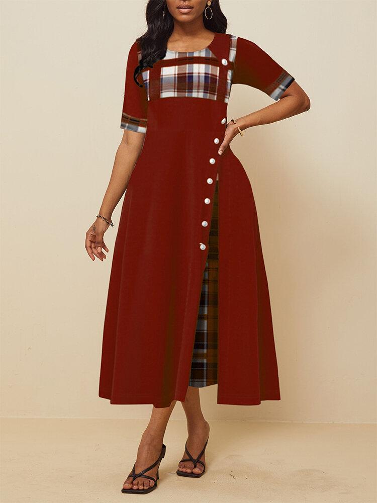 Robe longue à carreaux plissée irrégulière à manches courtes pour femmes