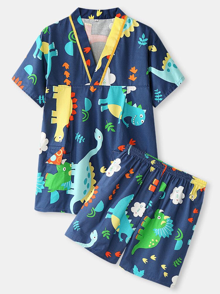 Plus Size Women Cotton Cartoon Dinosaur Print V-Neck Short Sleeve Sauna Clothes