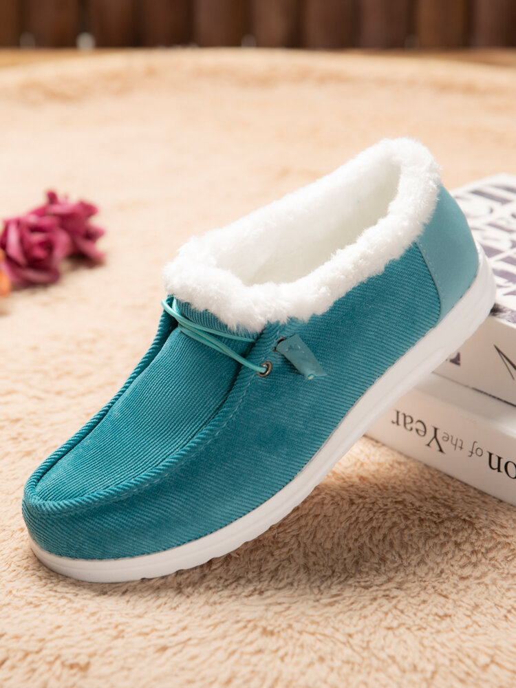 Women Large Size Warm Lining Solid Flat Loafers Shoes