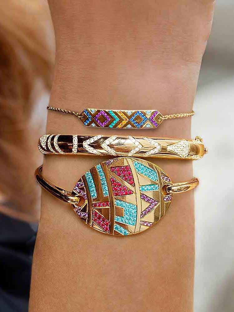 Ethnic Colored Gems Women Bracelet Adjustable Vintage Demon Eye Inlaid Rhinestone Bracelet