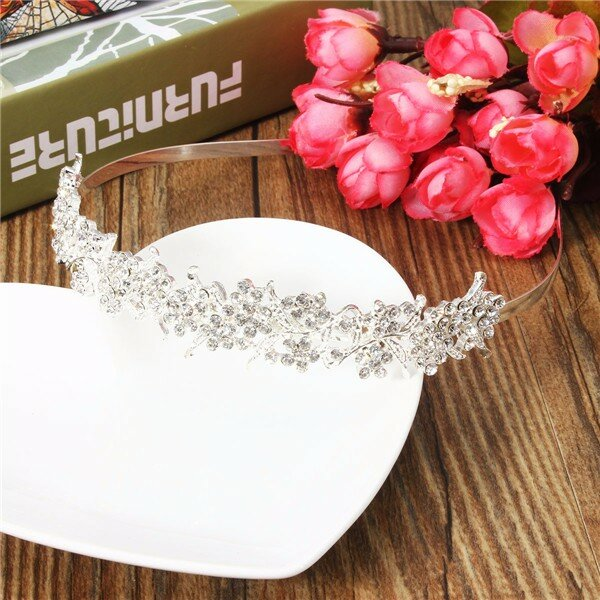 Women Silver Rhinestone Hairband Bride Wedding Hairwear Hair Accessories