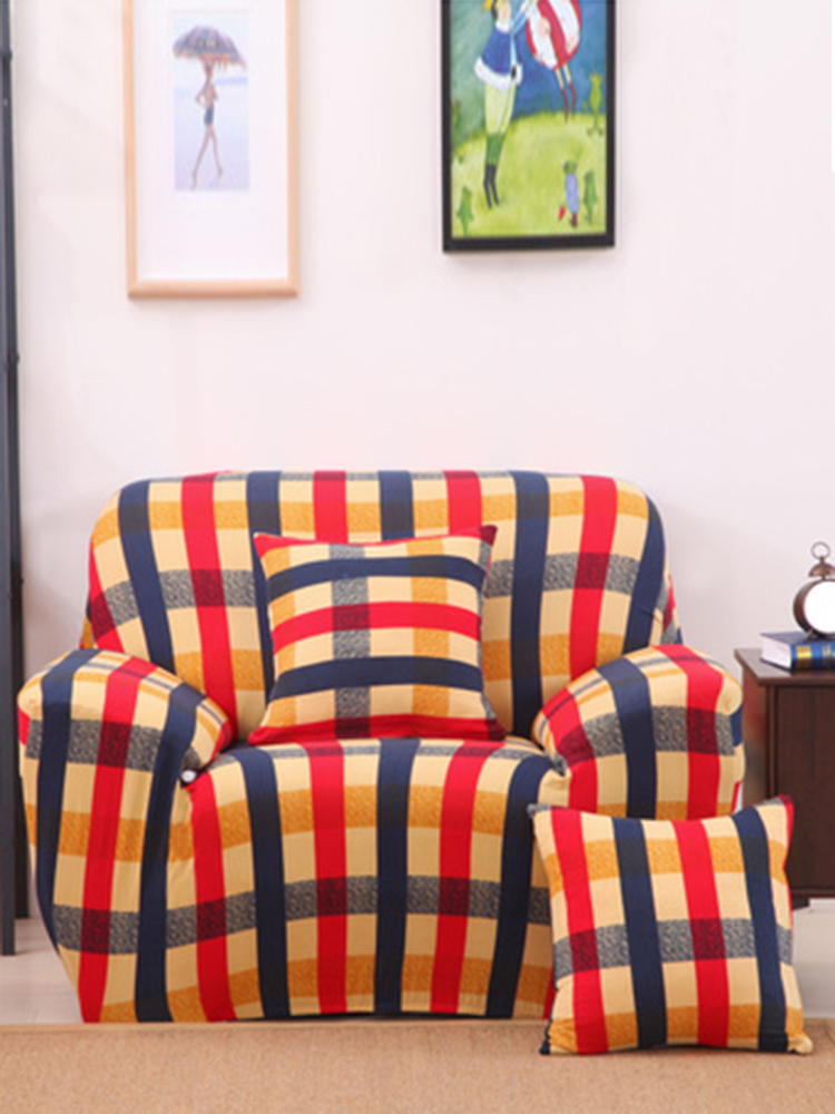 غطاء أريكة قماش مرن مطبوع بمقعد واحد