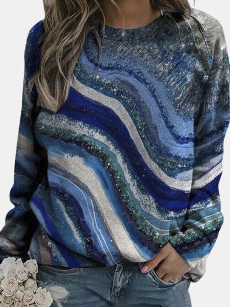 ランドスケーププリントOネックPlusサイズの女性用スウェットシャツ