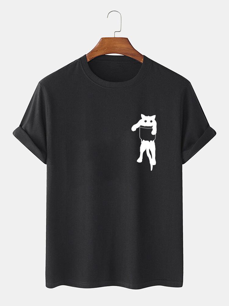 Mens Cartoon Cat Chest Print Cotton Casual Short Sleeve T-Shirts