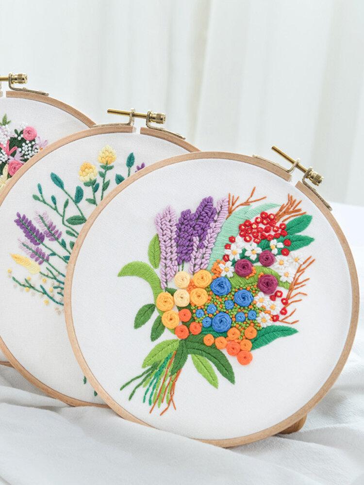 3D Bouquet Flower Printed 3D DIY Embroidery Kits Art Sewing Knitting Package Handmade Beginner DIY