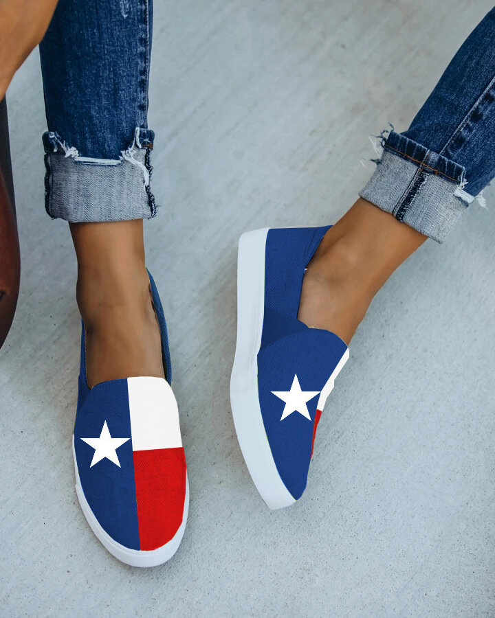 Women Casual Color Block Stars Pattern Round Toe Canvas Loafers Shoes