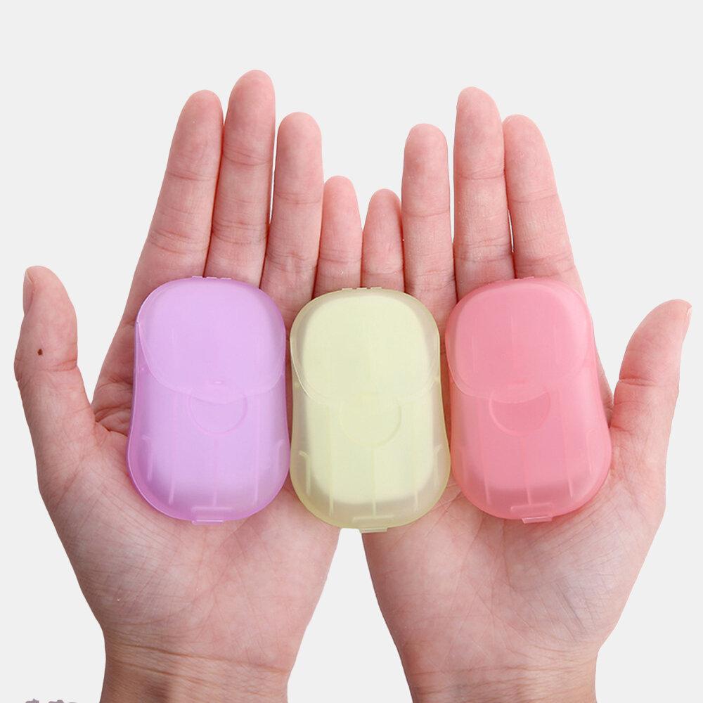 20 STÜCKE / Kartons Tragbares Handwaschpapier Mini-Einwegseifentabletten Karton Handseifenpapier