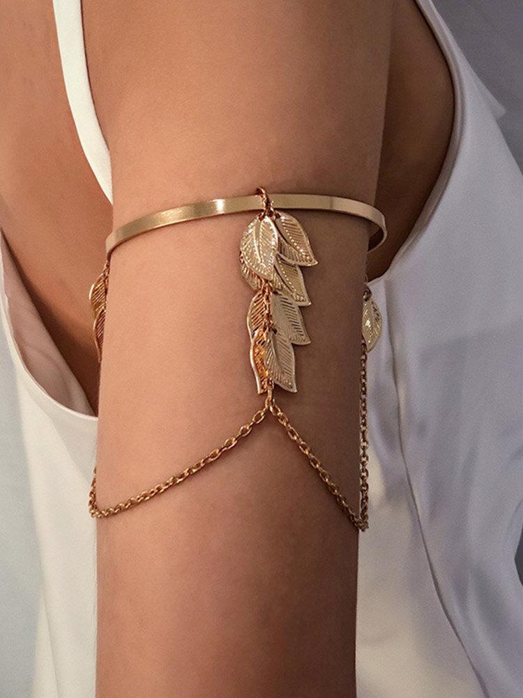 Vintage Trendy Geometric Leaf Shape Chain Tassel Iron Opening Adjustable Arm Bracelet