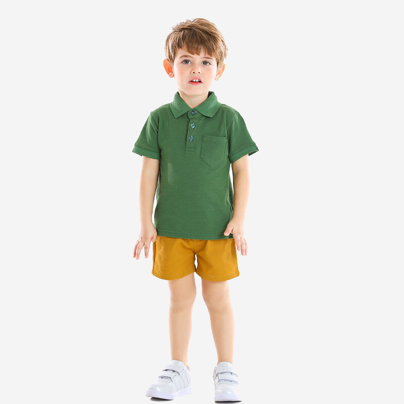 Boy's Green Short-sleeved T-shirts+Pants Preppy Style Set For 1-8Y