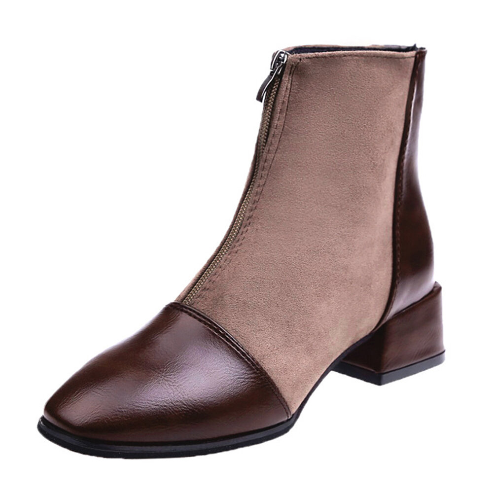 Square Toe Front Zipper Suede Chunky Kitten Heel Casual Ankle Boots
