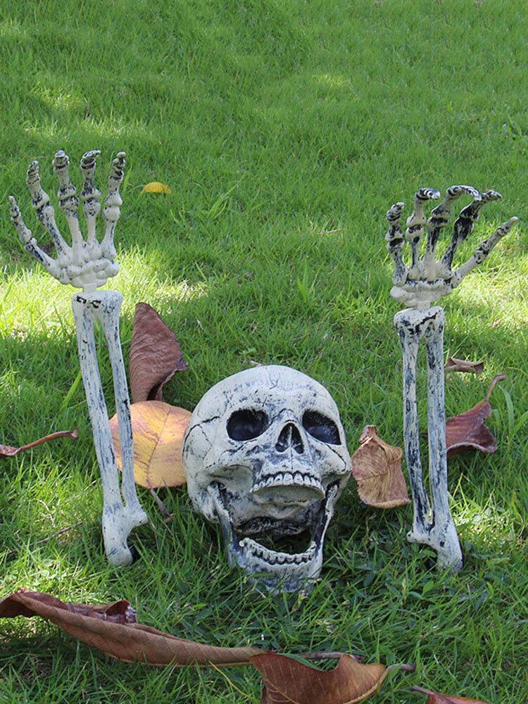 1 PC Halloween Haunted Skull House Realistic Bones Head And Hands Set Graveyard Scene Cosplay DIY Horror Party Decorations