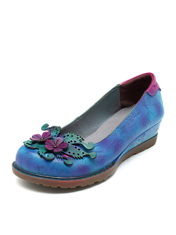 SOCOFY Handmade Leather Fantastic Forest Printing Pattern Casual Low Heel Shoes