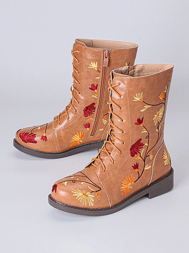LOSTISY Women Flowers Embroidered Zipper Mid Calf Chunky Heel Knight Boots