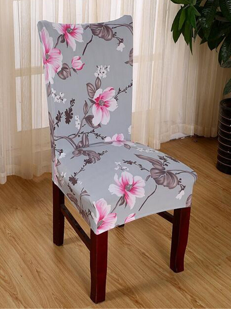 Elegant Flower Pattern Chair Cover Dining Wedding Banquet Decor Anti-stain Chair Slipcover